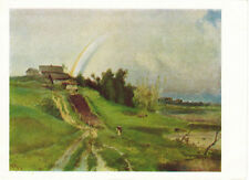 1966 Russian postcard RAINBOW OVER THE VILLAGE by A.Savrasov