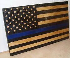 Thin Blue Line Wood American  Flag Police Wall Decor