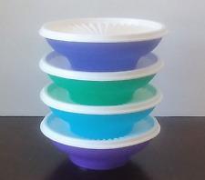 Tupperware Servalier Salad Cereal Bowls & Seals Purple Blue Aqua Green New