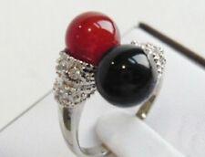 cadeau de Noël, noir / rouge jade , femme, Bague ,vogue,  taille 57#