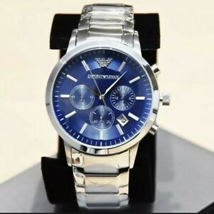 EMPORIO ARMANI MENS AR2448 WATCH BLUE DIAL STAINLESS STEEL £319 RRP NEW