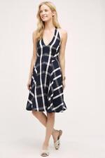 NWT Anthropologie Plaid Halter Dress, by Eva Franco - Blue motif, size 2