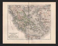 Landkarte map 1892: GRIECHENLAND. Greece Athen-Piräus Böotien-Attika Peloponnes