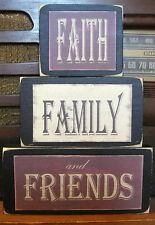 Faith Family Friends Primitive Rustic Handmade Stacking Blocks Wooden Sign Set