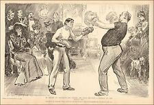 Boxing Lesson, Demos Fine Points by Charles Dana Gibson, antique print, 1906