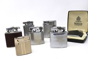 An Excellent Collection x7 Vintage Ronson Coloured Case Pocket Lighters A/F 436g