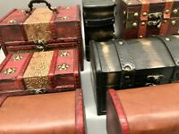 Rustic  Wooden Boxes Colonial Style Trunks Treasure Chest Vintage Storage