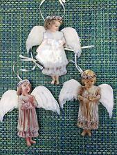 DONA GELSINGER HEAVENS LITTLE ANGELS PORCELAIN ANGEL ORNAMENT LOT OF 3 FEATHERS