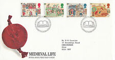 17 JUNE 1986 MEDIEVAL LIFE ROYAL MAIL FIRST DAY COVER BUREAU SHS