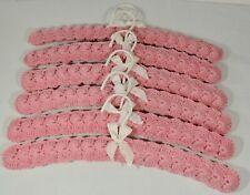 """6 Vintage Pink Crochet 15 1/2"""" Hangers Excellent"""