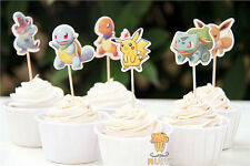 12 x Pokemon Pikachu Cake Picks Cupcake Toppers Flags Kids Girls Birthday Party