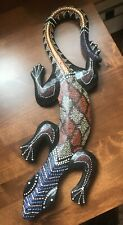 Art Figure Aboriginal Gecko Lizard Wooden Wall Hanging Dot Painted Indonesia