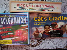 Backgammon Magnetic Game AND Wooden Pick Up Sticks AND Cats Cradle NEW Gift X 3
