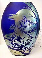 Fenton Art Glass Wild Horses Favrene Sand Carved Vase Platinum Collection #555