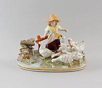 9997005 Porzellan Figur Mädchen mit Gänsen Gänseliesel Ernst Bohne 27x22cm