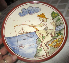 Signed B E - Greek Redware Pottery Plate Fisherman