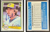 Charlie Moore Signed 1982 Donruss #280 Card Milwaukee Brewers Auto Autograph