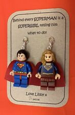 Anniversary Gift Superman And Supergirl Lego Figures Personalised Keyring Saccos