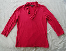 Talbots - NWOT thin Red knit top, Ruffle Neck, 3/4 sleeve size S
