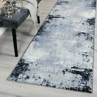 MICHIGAN BLUE GREY URBAN ABSTRACT RAW MODERN FLOOR RUG RUNNER - 2 Sizes **NEW**