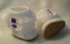Newborn Baby Girl Fringe Boot style Booties Crochet infant Shoes Gift Photo Prop
