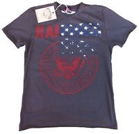 AMPLIFIED RAMONES USA Flag Logo Hey Ho Let's Go Rock Star Vintage T-Shirt S 46