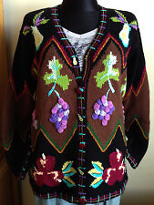 STORYBOOK KNITS Crocheted Cardigan Sweater M Knitted Beaded Fruit Theme NEW