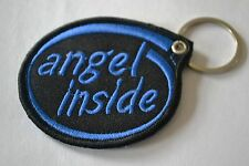 """ANGEL INSIDE"" EMBROIDERY KEYRING EMBROIDERED PATCH BADGE KEY CHAIN CHROME RINGS"