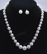 """8-14mm White South Sea Shell Pearl Round Beads Necklace + Earrings 18"""" AAA"""