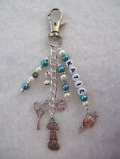 Personalised Knitting / Crochet / Sewing Bag / Key Charm Great Gift for Knitters