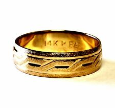 14k yellow gold wedding band ring 3.9g estate mens 6mm vintage antique gents