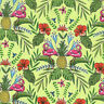 Michael Miller FLOCK TO THE OASIS Tropical Hawaiian Flamingo Fabric - Lime