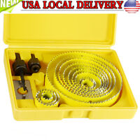 Portable 16pcs Hole Saw Drill Bit Kit w/ Mandrels Case Wood Sheet Metal Set
