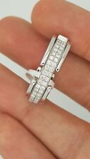 MOVING 18K WHITE GOLD DIAMOND DOUBLE FLEXIBLE MEN WOMAN ROMAN NUMERAL RING BAND