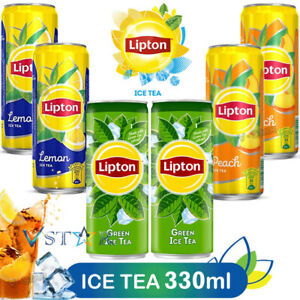 LIPTON ICE TEA LEMON, PEACH, GREEN TEA SLEEK AND MIXED FLAVOUR CANS 330ML