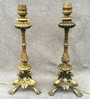 Antique pair of gilded bronze Empire style lamps 19th century France chimeras