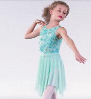 In Stock Mint Green Flower Sequin Lyrical Ballet Dress Dance Costume All Sizes