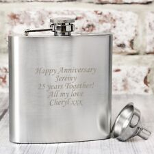 Personalised Stainless Steel 6oz Hip Flask,Funnel+Gift Box-Free Laser Engraving