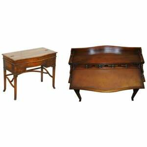 STUNNING THEODORE ALEXANDER CAMPAIGN FOLDING DESK WORKSTATION BROWN LEATHER TOP