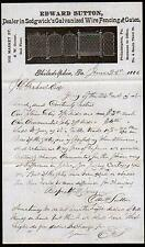 1886 Edward Sutton Galvanized Wire Fencing and Gates Philadelphia PA Letter Head