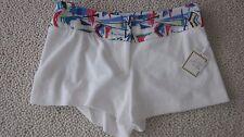 Milly Fun Crisp White Terry Trendy Design Cabana NWTs Sz Large Shorts Rtl $150