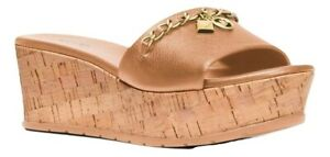 Michael Kors Elsa Platform Sandal Leather & Cork Deer 6/6.5/7/7.5/8/8.5/9 Nib