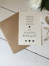 "Handmade Personalised ""Will You Be Bridesmaid "" Flat Card Invite"