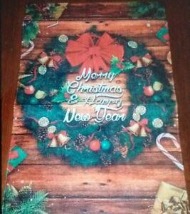"Christmas Decorated Wreath ""Merry Christmas & Happy New Year"" Burlap Mini Flag"