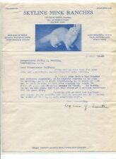 Vintage Illustrated Letterhead SKYLINE MINK RANCHES Millbury MA 1945 RARE