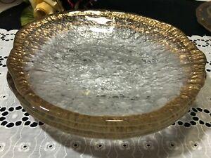 """Set of 4 IVV """"Glacier Glass"""" Gold Trim Dinner Plates 10"""""""