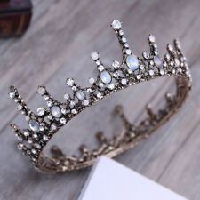 Antique Brass Baroque Crystal Diadem Crown Princess Wedding Bridal Pageant Tiara