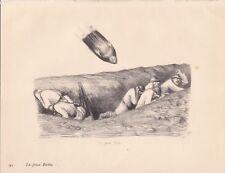 ✒ gravure Jean VEBER guerre 14-18 - La Grosse Bertha