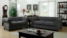 Gray 3 Pc Sofa Love-seat Chair Formal Living Room Roll Arm Tufted Cushion Fabric