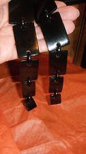 earrings MONIES GERDA LYNGGAARD clip massive dangling horn reticulated black